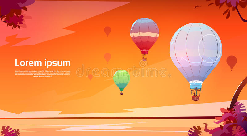 Красочные воздушные шары летая в небо над ландшафтом моря захода солнца иллюстрация вектора