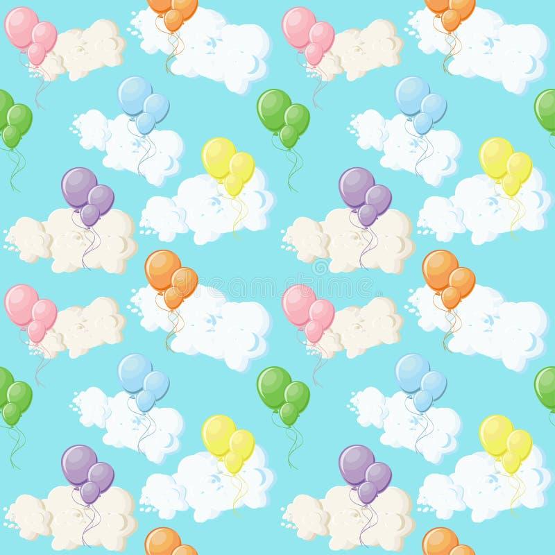 Красочные воздушные шары и облака на голубом небе иллюстрация вектора