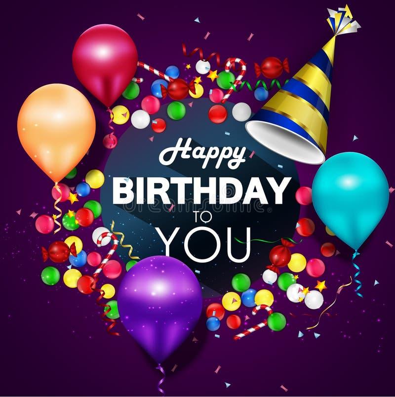 Красочные воздушные шары с днем рождения на фиолетовой предпосылке иллюстрация штока
