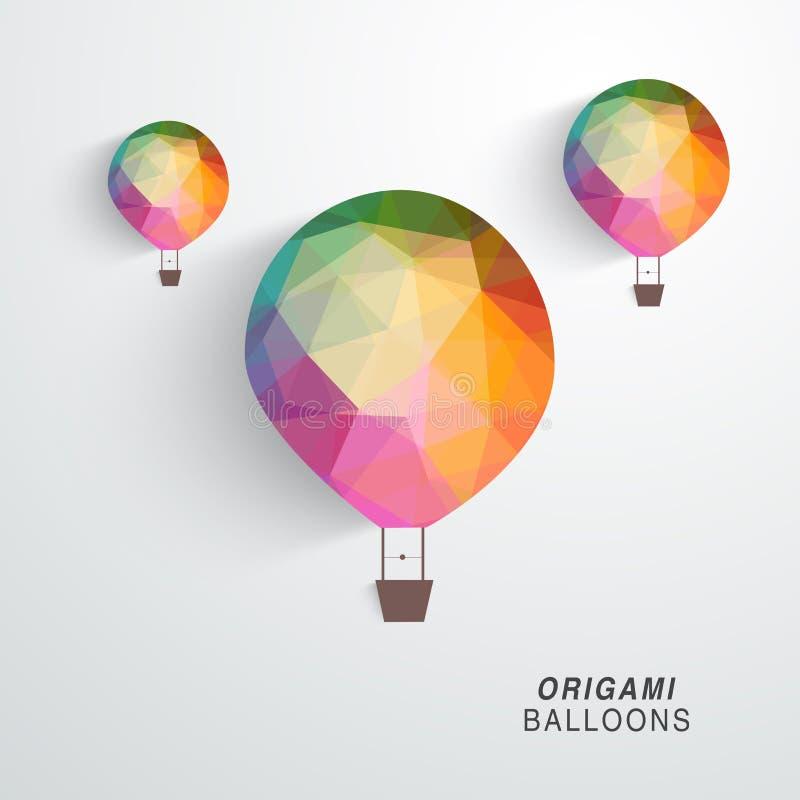Красочные воздушные шары origami бесплатная иллюстрация