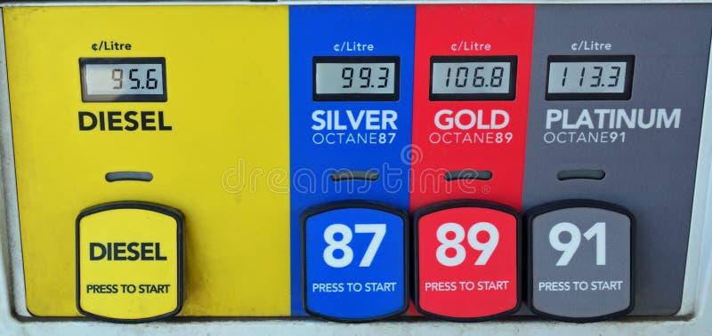 Красочные выборы топлива газового насоса стоковое изображение