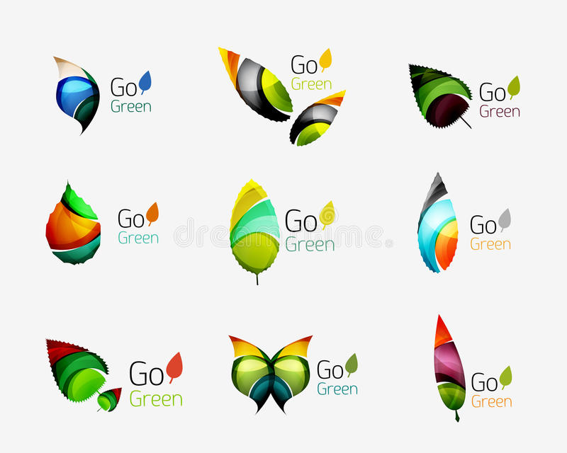Красочные геометрические концепции природы - абстрактные логотипы лист, пестротканые значки, комплект символа иллюстрация штока