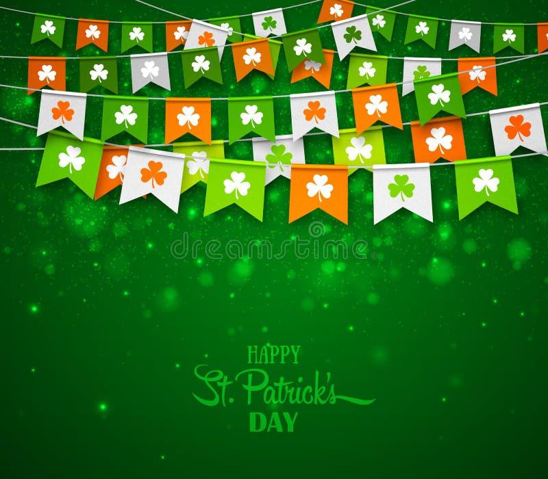 Красочные гирлянды флагов с клеверами Ирландский день ` s St. Patrick праздника бесплатная иллюстрация