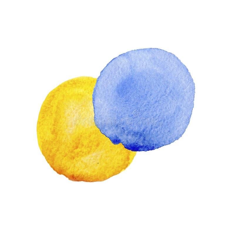 Красочные голубые и желтые текстуры акварели на предпосылке белой бумаги Рука покрасила абстрактную иллюстрацию иллюстрация вектора