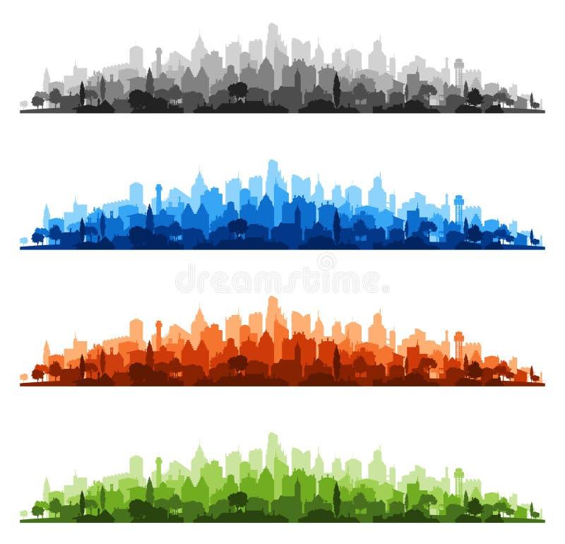 Красочные городские пейзажи вектора иллюстрация штока