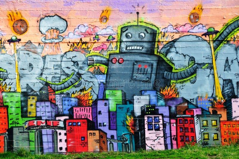 Красочные граффити в Reykjavik стоковая фотография rf