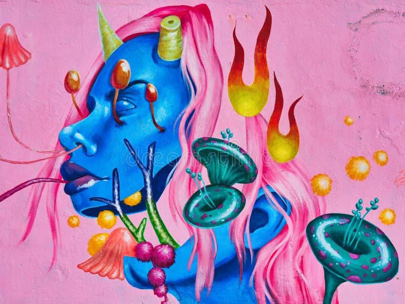 Красочные граффити, стена граффити пляжа Bondi, Сидней, Австралия стоковая фотография