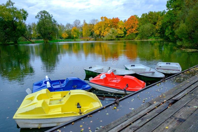 Красочные деревья осени в парке открытого города на озере подпирают На переднем плане пестротканые катамараны и шлюпки стоковые фото