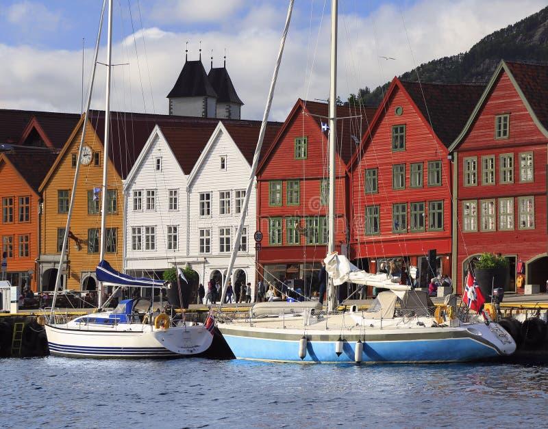 Красочные дома в Бергене, Норвегии стоковая фотография rf