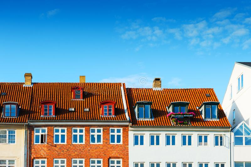 Красочные дома в Копенгагене, Дании стоковая фотография rf