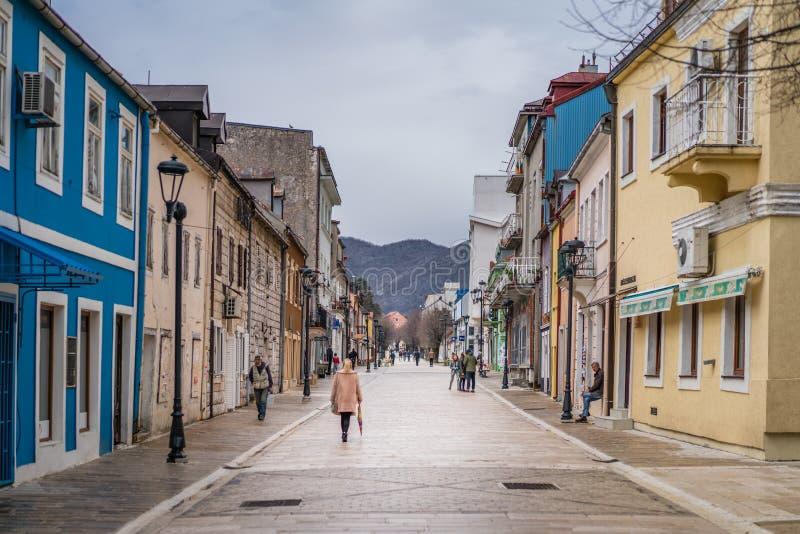 Красочные дома Cetinje стоковое изображение
