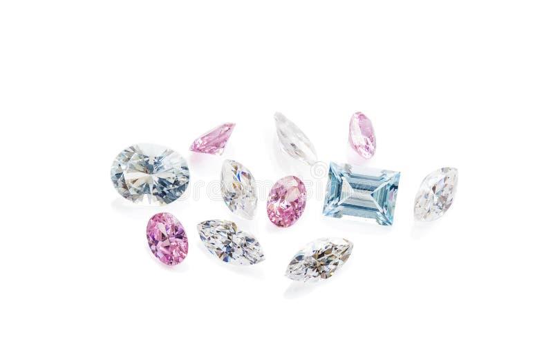 Красочные драгоценные камни изолированные на белой предпосылке стоковая фотография rf