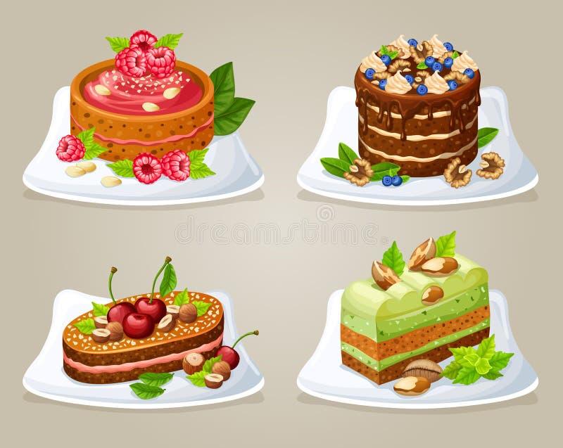 Красочные декоративные торты на установленных плитах иллюстрация вектора