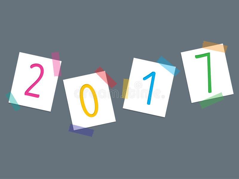 Красочные ленты и 2017 вывешивают свое бесплатная иллюстрация