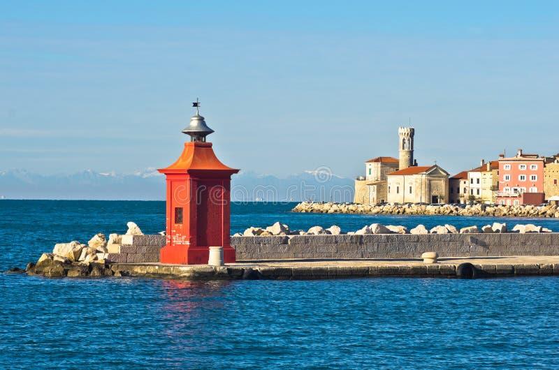 Красочные детали архитектуры на Piran затаивают, Istria стоковая фотография