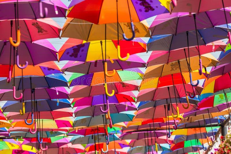 Красочные зонтики в саде чуда Дубай стоковые изображения rf
