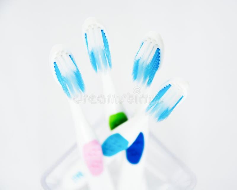 Красочные зубные щетки на белой предпосылке стоковое изображение