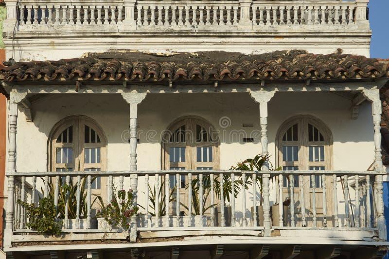 Красочные здания Cartagena de Indias в Колумбии стоковая фотография