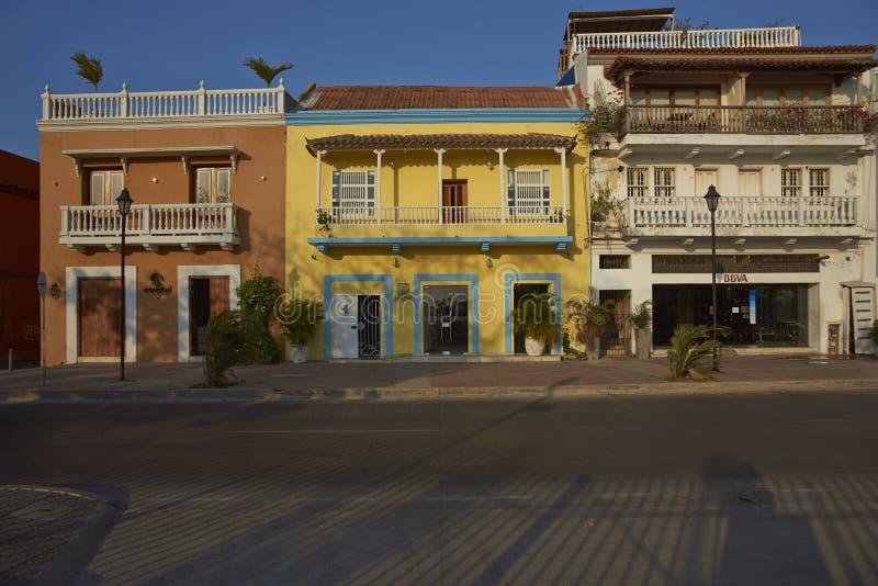 Красочные здания Cartagena de Indias в Колумбии стоковые изображения