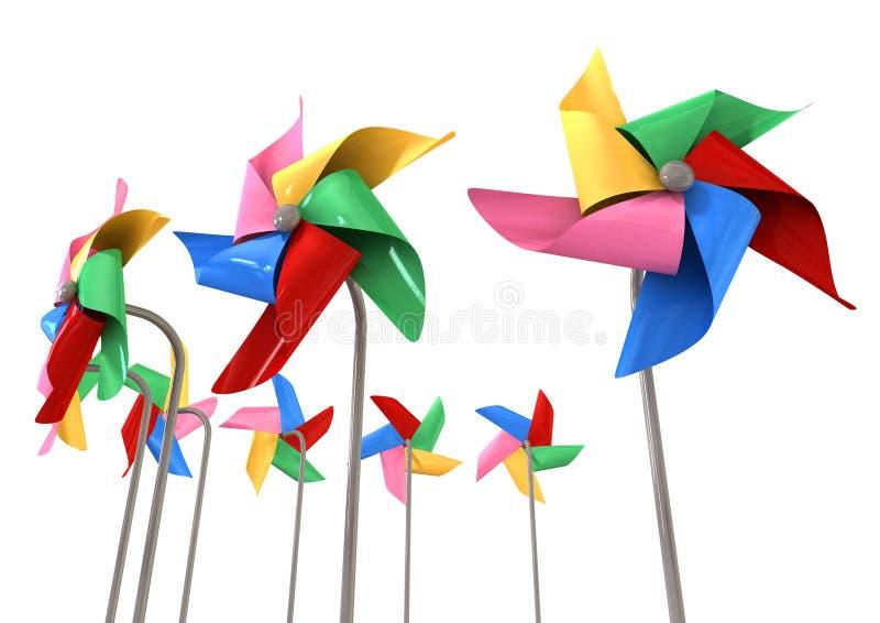 Красочные изолированные Pinwheels иллюстрация штока
