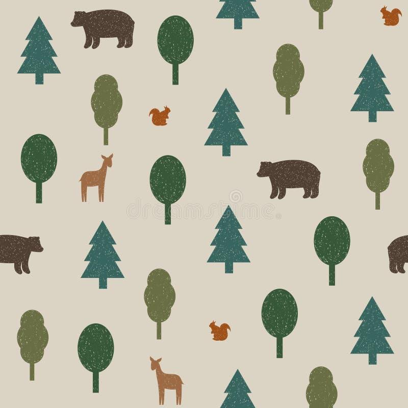 Красочные дикие животные в картине леса иллюстрация штока