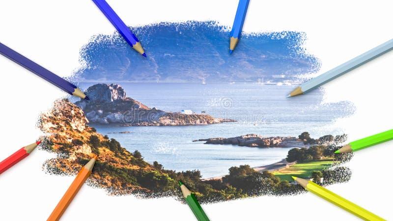 Красочные карандаши рисуя изображение бесплатная иллюстрация