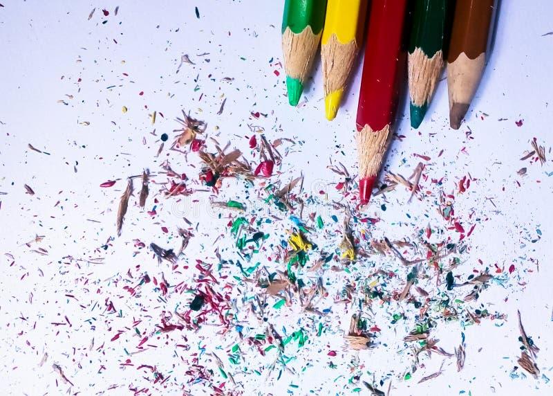 Красочные карандаш и пыль цветов стоковое фото rf