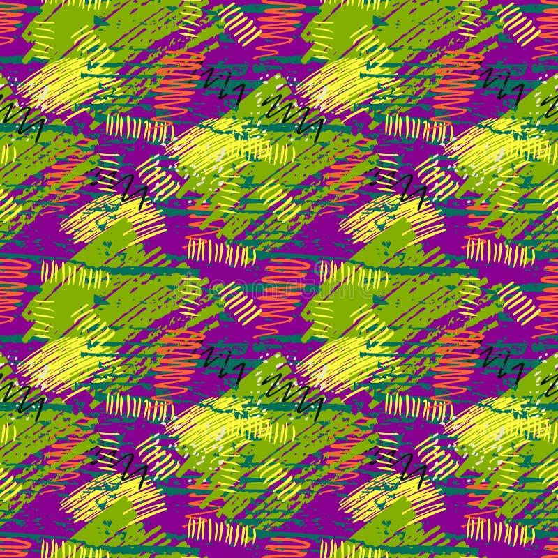 Красочные картина зеленого, фиолетового, желтого grunge безшовная с абстрактной нарисованными рукой ходами щетки и краска брызгаю бесплатная иллюстрация