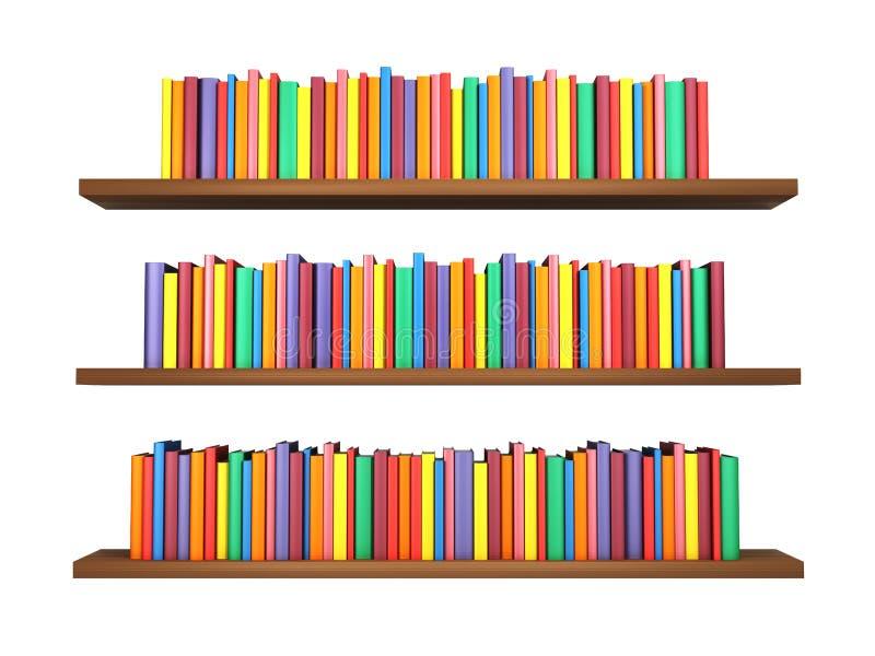 Красочные книги на книжных полках изолированных на белой предпосылке бесплатная иллюстрация