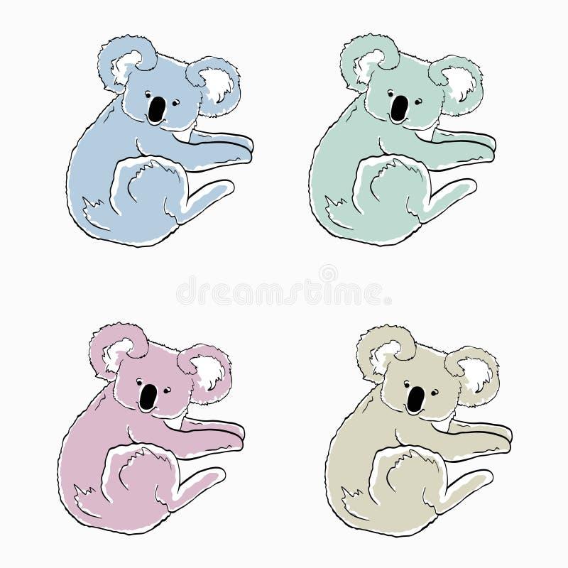 Красочные коалы на белой предпосылке Эскизы животных других цветов Значки мультфильма медведей коалы бесплатная иллюстрация