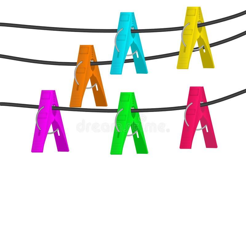 Красочные колышки одежд вися на собрании веревочки бесплатная иллюстрация