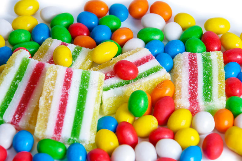Красочные конфеты и мармелад Селективный фокус стоковое изображение