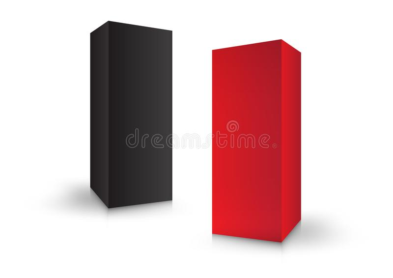Красочные коробки, пакет, 3d коробка, оформление изделия, иллюстрация вектора Упаковывая шаблон иллюстрация вектора