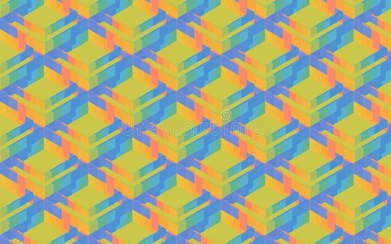 Красочные коробки 3D, квадраты и косоугольники в картине иллюстрация штока