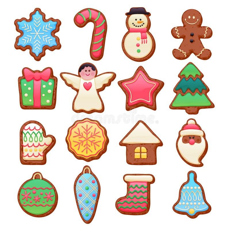 Красочные красивые установленные значки печений рождества бесплатная иллюстрация