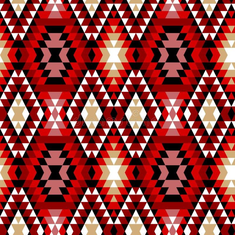 Красочные красные белые и черные ацтекские орнаменты геометрическая этническая безшовная картина, вектор иллюстрация вектора
