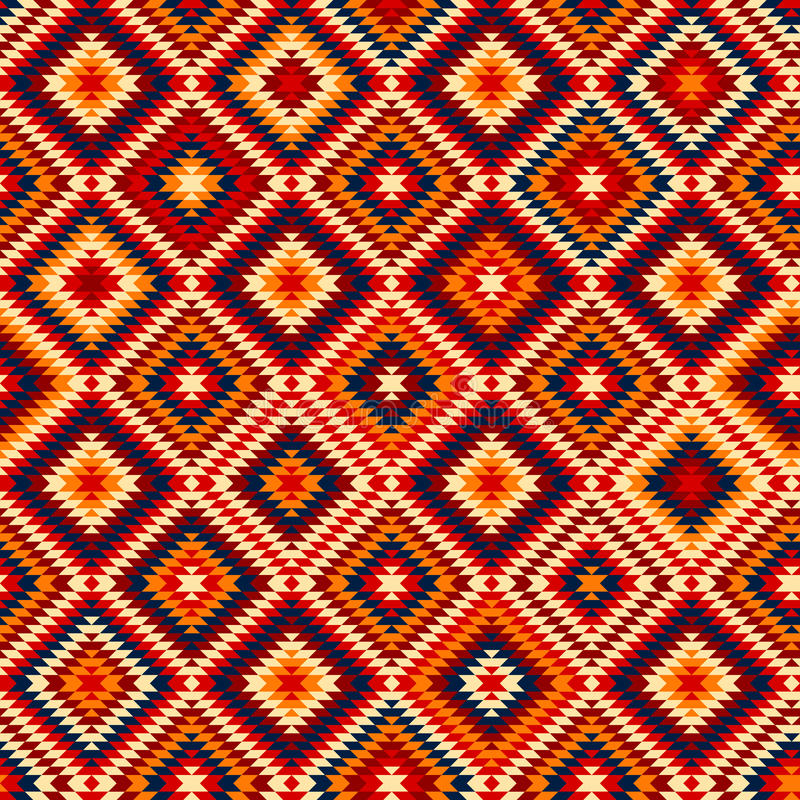 Красочные красные желтые голубые ацтекские орнаменты геометрическая этническая безшовная картина, вектор иллюстрация штока