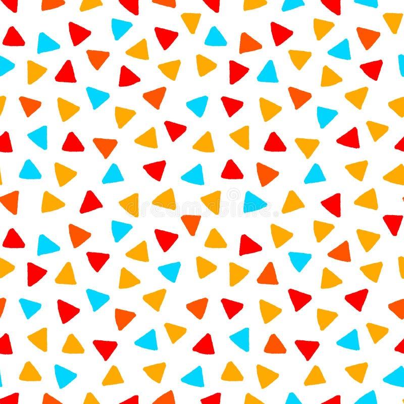 Красочные красные треугольники оранжевого желтого цвета голубые вручают вычерченную безшовную картину, вектор иллюстрация вектора