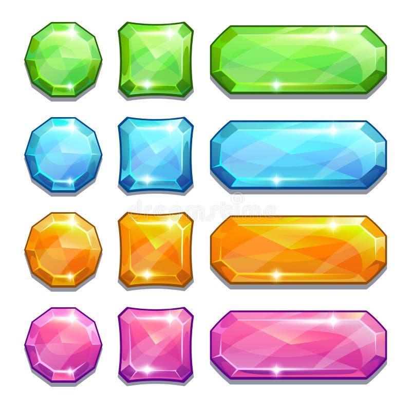Красочные кристаллические кнопки иллюстрация вектора
