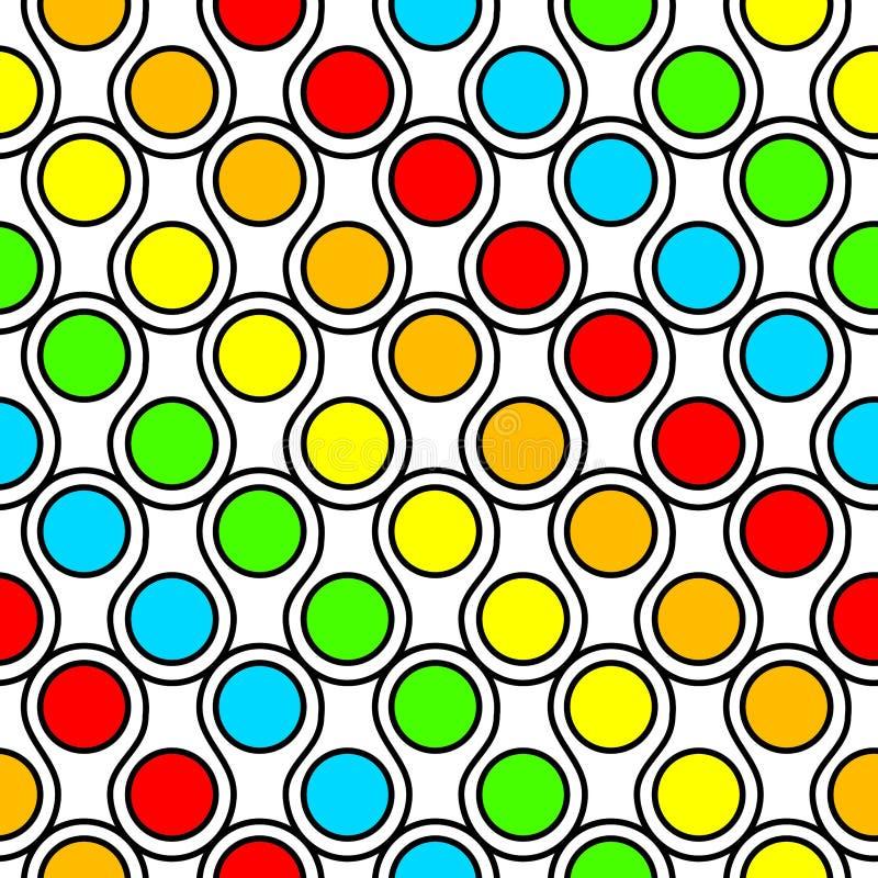 Красочные круги и картина волн безшовная иллюстрация вектора