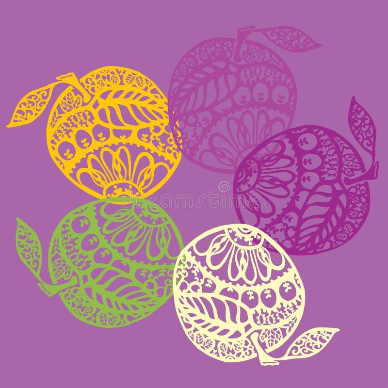 Красочные кружевные яблоки бесплатная иллюстрация