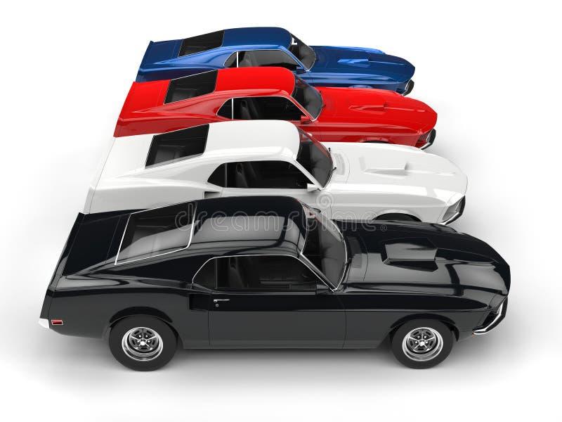 Красочные классические автомобили мышцы - взгляд сверху иллюстрация вектора
