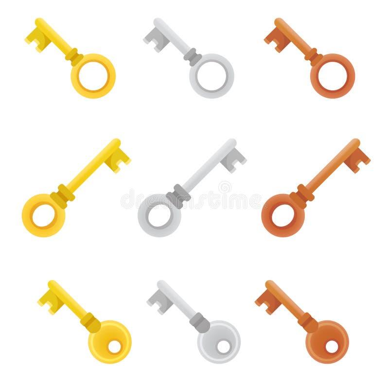 Красочные ключи комплекта значки яркие и стильные элементы для вашего дизайна бесплатная иллюстрация