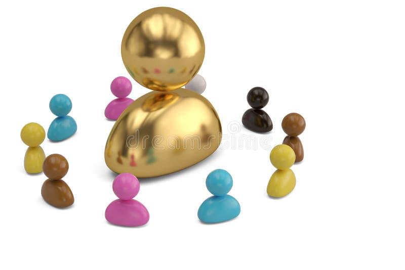 Красочные люди и большая персона золота на белой предпосылке illu 3d иллюстрация штока