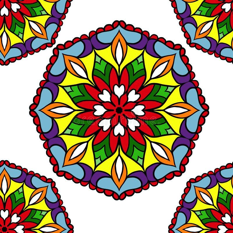Красочные мандалы цветка круга иллюстрация штока