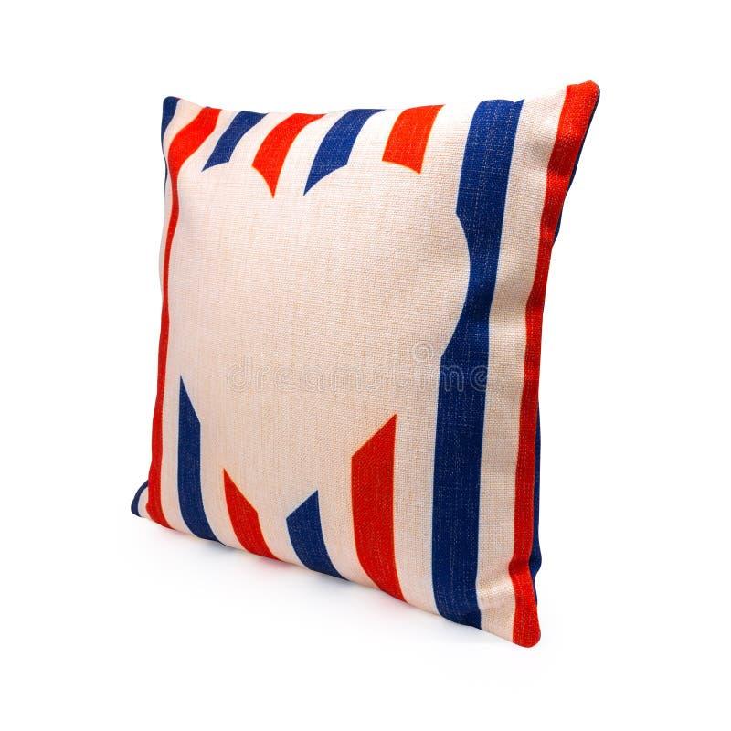 Красочные нашивки конструируют крышку подушки на изолированной предпосылке с путем клиппирования Текстура ткани мешковины для укр стоковое изображение