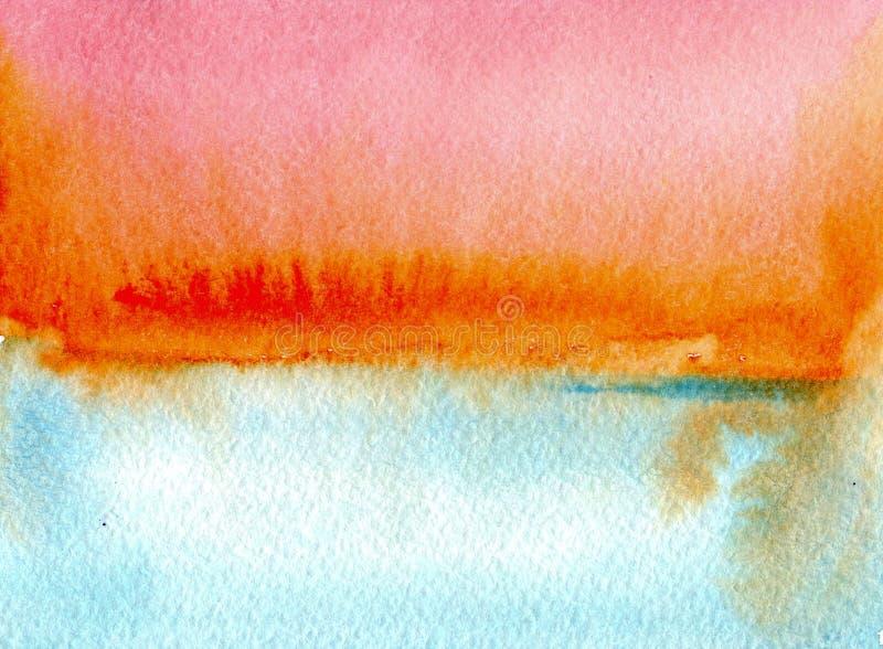 Красочные небесно-голубые и оранжевые текстуры акварели на предпосылке белой бумаги Небо и море Иллюстрация покрашенная рукой абс иллюстрация вектора