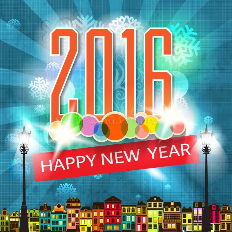 Красочные Новые Годы иллюстрации поздравительной открытки Нового Года стиля шаржа карточки Eve ретро иллюстрация вектора