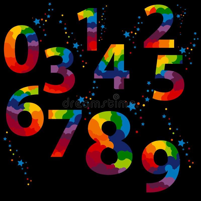 Красочные номера установили логотипы на черную предпосылку Выплеск звезд и конфеты над каждым знаком иллюстрация штока