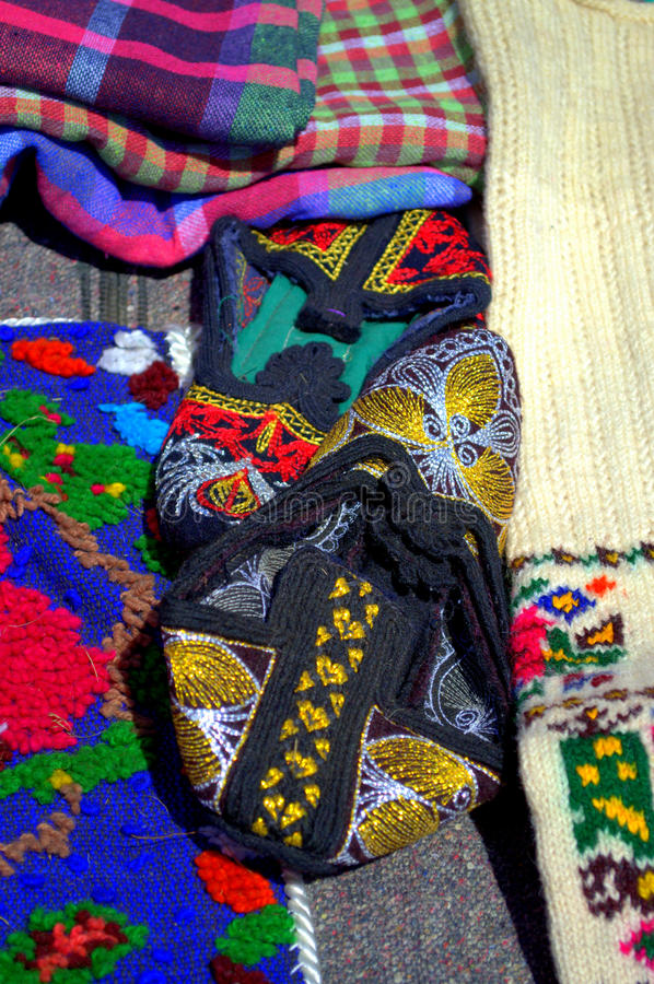 Красочные носки связанные Rodopian стоковые фотографии rf